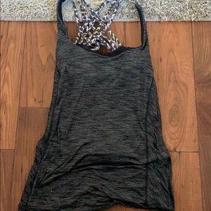 Lululemon grey and animal print workout shirt